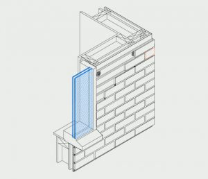 Isometric of window flush installation