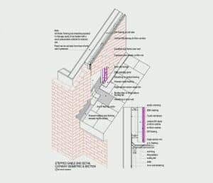 Stepped Gable End Detail - Cutaway Isometric & Section