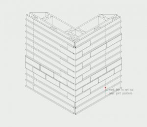 Isometric of coursing installation