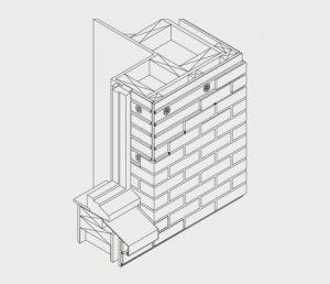Isometric of window recessed installation